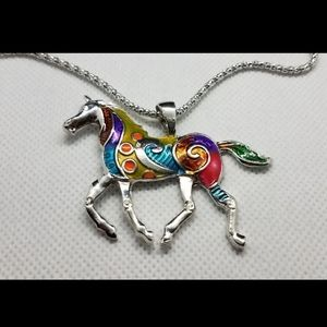 New Colorful Running Horse Sweater Necklace